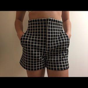 Zara Checkered High Waisted Shorts